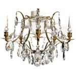 Krebs Baroque 5 Polished  Brass Almond Obelisk Chandelier