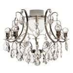 Krebs Baroque 5 Almond Ball Crystal Nickel Finish Chandelier