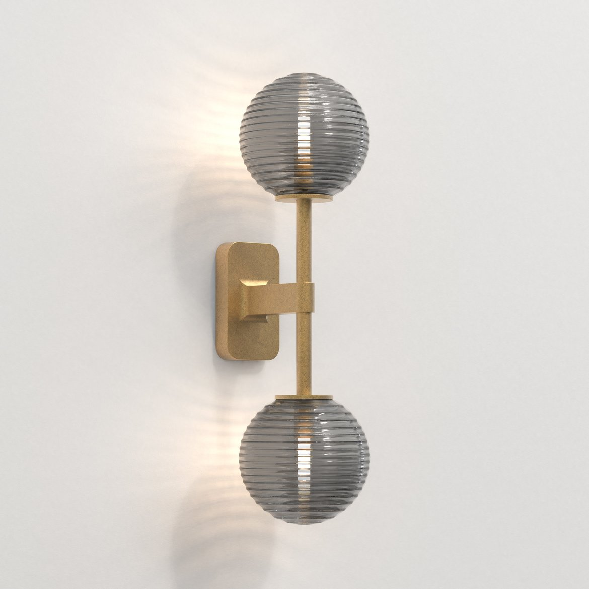 Astro Lighting 1429008 Tacoma Twin Brass With Smoked Shades